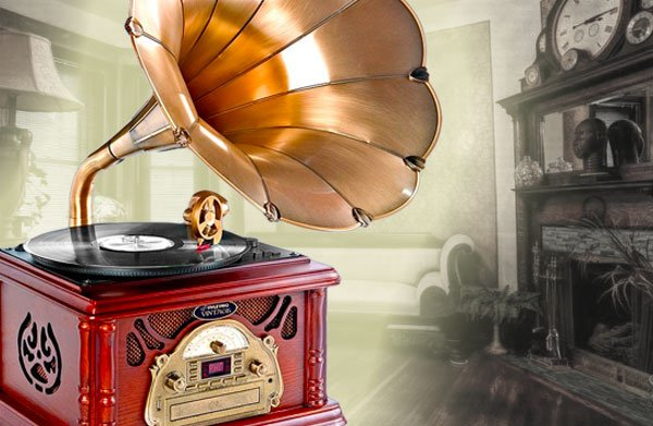 Classical Trumpet Horn Turntable-Phonograph