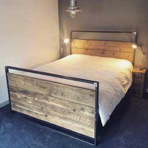Reclaimed Industrial Chic Hand Made King Size Bed
