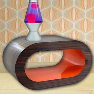 Retro Stripy Walnut and Orange Hoop Coffee Table
