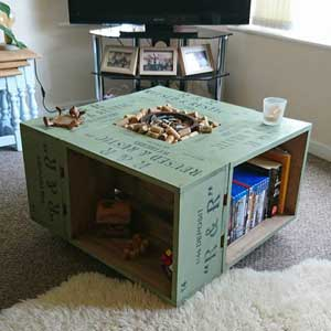 Rustic Crate Coffee Table on wheel casters