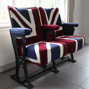 Union Jack knit vintage cinema seats