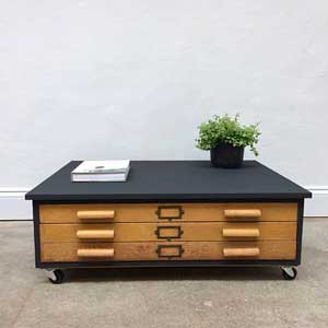 Vintage 1950s Oak Plan Chest Coffee Table