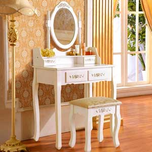 White Vanity Dressing Table Mirror and Chair Set