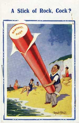 banned stick of rock postcard